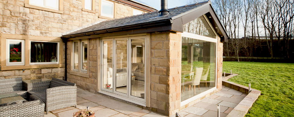 Stone Extension exterior with Patio Doors